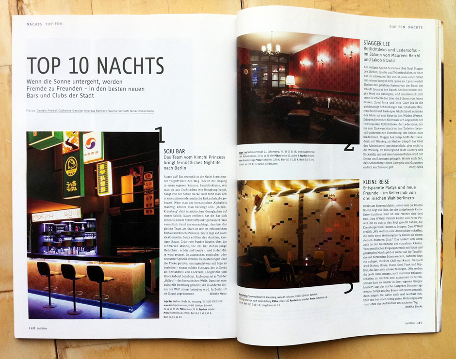 Top 10 Nights - in the ten best new bars and clubs in Berlin. Tip Speisekarte, 2011