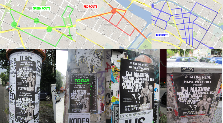 Some of the flyer and poster promotion routes in Kreuzberg and Neukölln. Poster runners took photos of each poster as proof of placement.