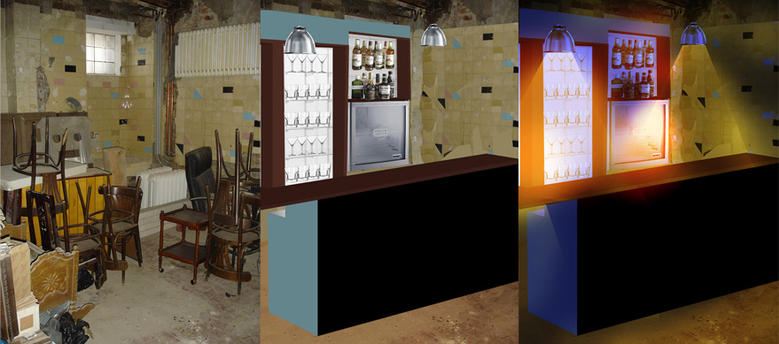 Development of bar construction and lighting.