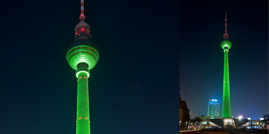 The TV Tower in Berlin turning green for the occasion.